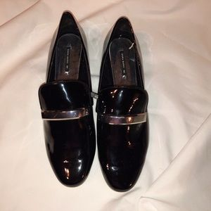 NEW ZARA Black Patent Loafer with Silver SZ 40